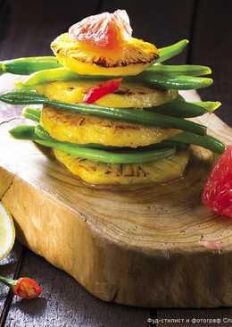 Салат с ананасом, стручковой фасолью и грейпфрутом