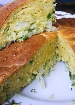 Заливной пирог с капустой и плавленным сырком
