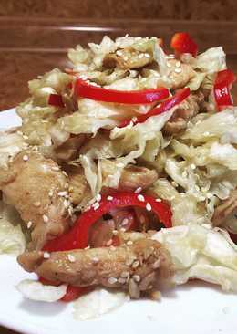 Тёплый салат с куриной грудкой!