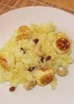 Рис Кесар панир пулао (шафрановый рис с сырными шариками)