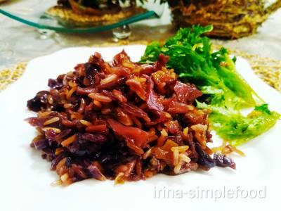 Краснокочанная капуста с рисом