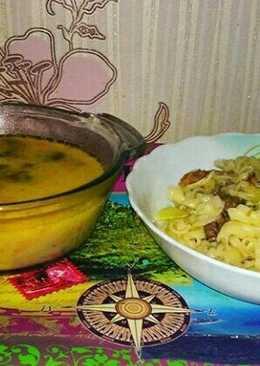 Рецепт грибного сырного супа и макарон по-флотски