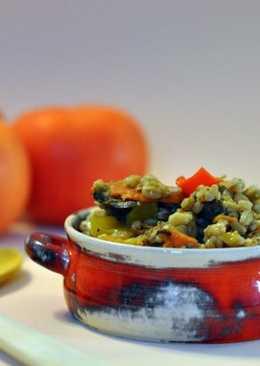 Итальянская полба с овощами и запеченными баклажанами