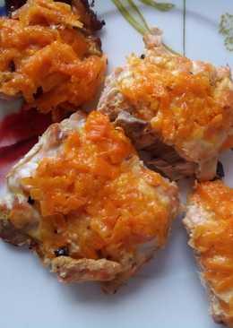 Горбуша под сырно-морковной шубкой