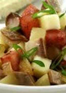 Салат из сардины или ставриды горячего копчения