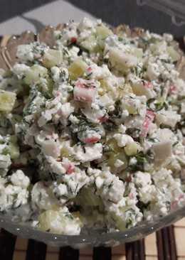 Салат с творогом и крабовыми палочками #кулинарныймарафон