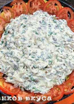 Картофельная запеканка с мясом в соусе из маскарпоне и грибов