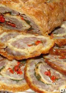 Рулет из сыра с мясным фаршем (закуска)