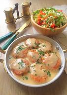 Куриные тефтельки с рисом в белом соусе