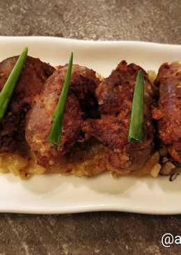 Жареная куриная печень с грушевым чатни