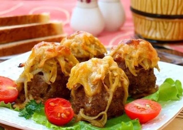 Мясные «Стожки» из фарша с картофелем и сыром