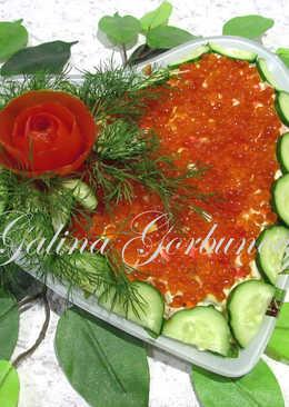 Крабовый салат в праздничном оформлении #кулинарныймарафон