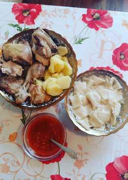 Тонкий хинкал с курицей
