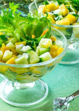 Праздничный салат с манго и огурцами