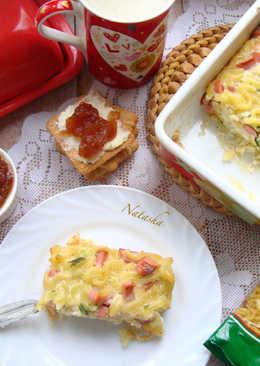 Яично-колбасная запеканка с рожками на завтрак