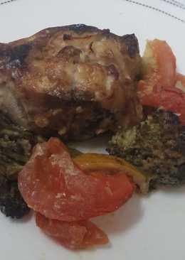 Скумбрия запеченная с брокколи в соево-горчичном соусе