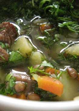 Чечевичный суп со свининой и копчёной грудинкой #чемпионат мира #франция