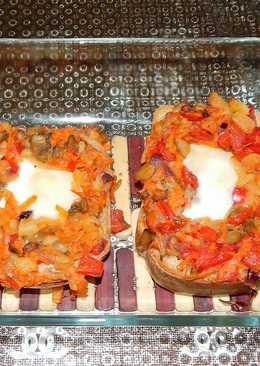 Хлебно-яичные бутерброды с баклажанно-кабачковой икрой