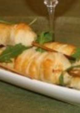 Шашлыки с сыром и шампиньонами в тесте