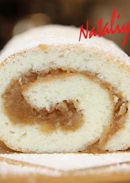 Бисквитный рулет с яблочной начинкой. ПОЛУЧАЕТСЯ У ВСЕХ