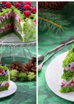 Торт «Лесной мох» - интересный торт с необычным зеленым бисквитом !!!