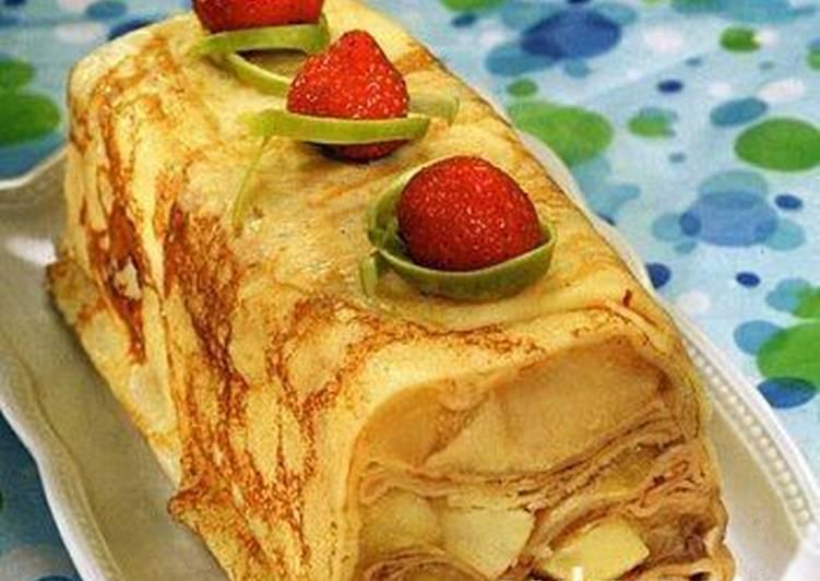 Блинный пирог с яблочно-сметанной начинкой