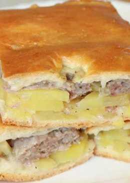 Пирог с фаршем и картошкой в духовке