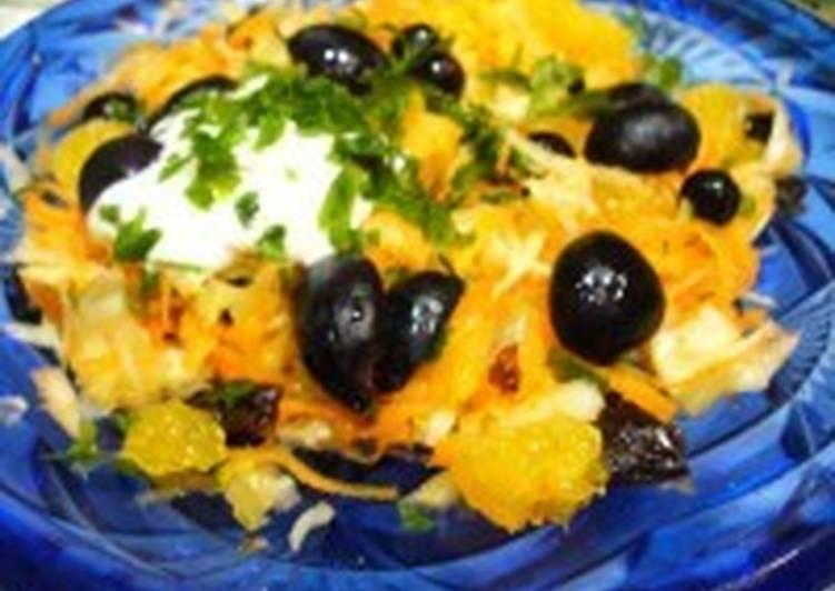 Салат с овощами и фруктами «Черные глаза»