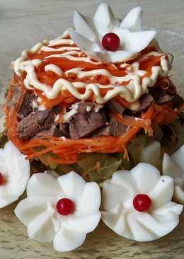 Теплый салат с печенью индюшки