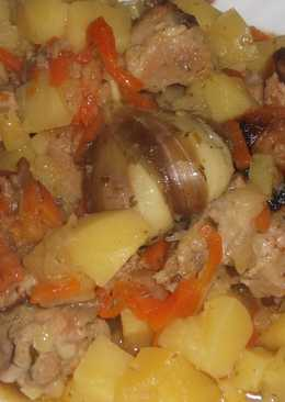 Плов из картошки с гузками индейки