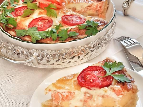 Киш с красной рыбой и сыром (пирог с рыбой)