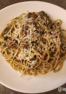 Паста со шпинатом и индейкой по-итальянски