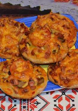 Пицца малютка, очень вкусный рецепт, бездрожжевое тесто с ржаной мукой