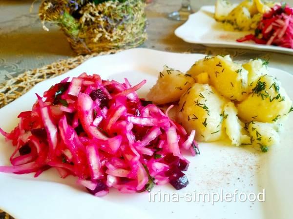 Салат из капусты со свеклой #кулинарныймарафон
