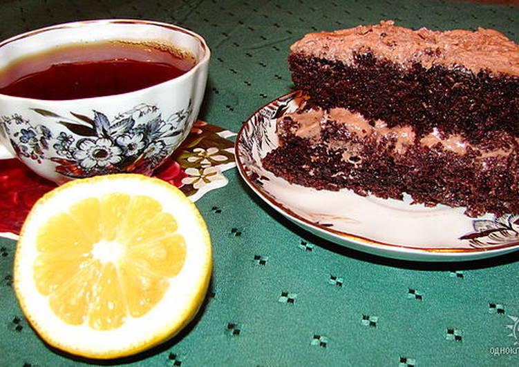 Шоколадный торт-пирог на кипятке (для любителей шоколадной выпечки)