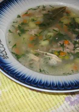 Диетический суп из крольчатины с зелёным горошком