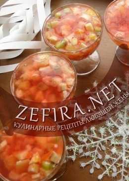 Фруктовый постный десерт из фруктов с киселем