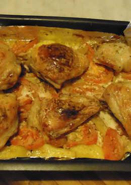 Картошка с куриными бедрышками в ряженке