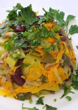 Салат с фасолью и грибами - постный