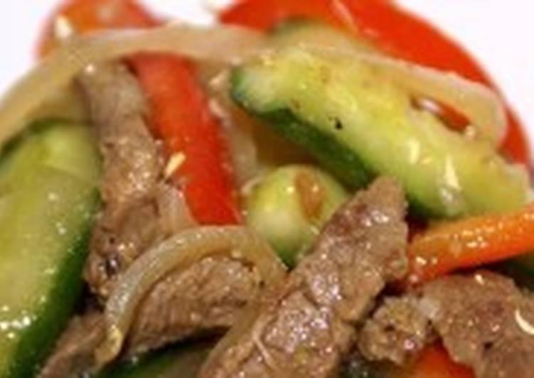 Корейский огуречно-мясной салат