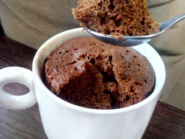 Шоколадный пп кекс в микроволновке