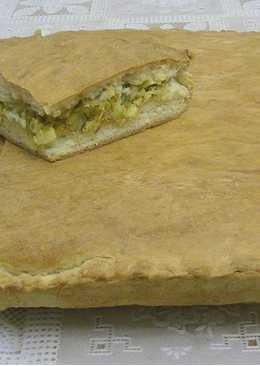 Пирог с капустой из песочно-дрожжевого теста