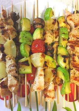 Домашний шашлычок из курицы с овощами
