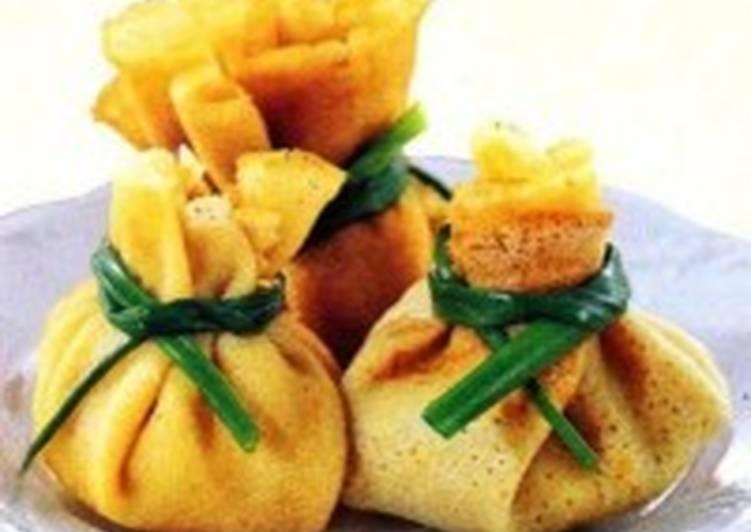 Мешочки блинные с грибами и мясом