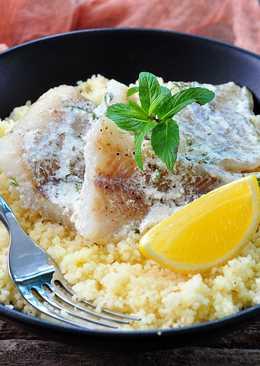 Тушеная рыба в сливках и пряный кус-кус