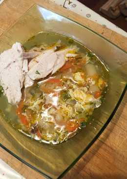 Супчик на курином бульоне со стручковой фасолью, рисом и яйцом🌷