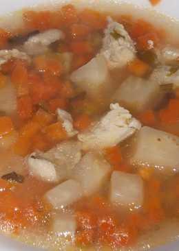 Суп морковный с куриной грудкой и сельдереем