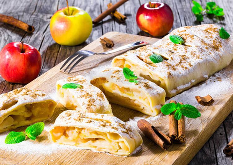 Быстрый штрудель с яблоками в лаваше