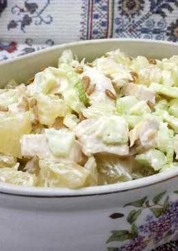 Сочный салат с помело и курицей