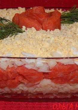 Салат слоёный с красной рыбкой